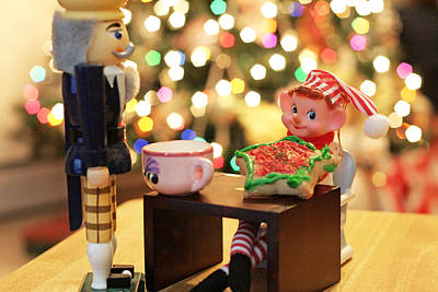 Photograph - Vintage Christmas Elf Tea And Cookies by Barbara West