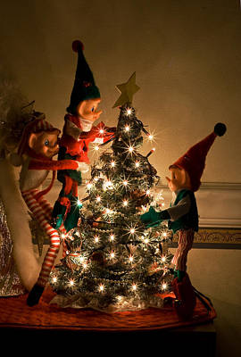 Photograph - Vintage Christmas Elves Decorating A Tree by Barbara West