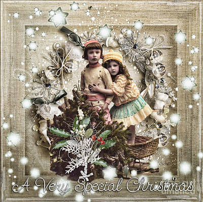 Girls Mixed Media - Vintage Christmas by Mo T