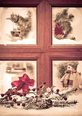 Vintage Christmas Window Art Print by Amanda Elwell