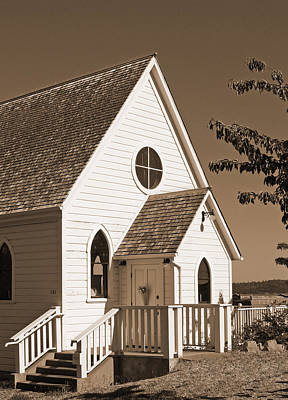 Photograph - Vintage Church In Sepia by Connie Fox
