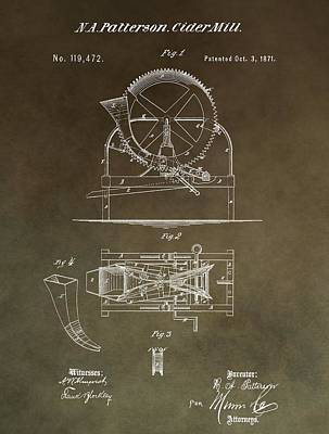 Ale Mixed Media - Vintage Cider Mill Patent by Dan Sproul