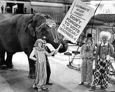 Clown Photograph - Vintage Circus Clowns And Elephant by Retro Images Archive