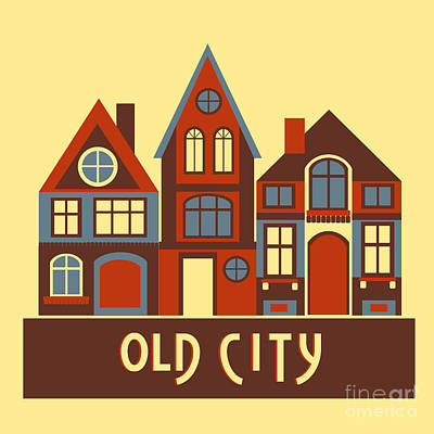 Old City Wall Art - Digital Art - Vintage City Houses On Yellow Background by Okhristy