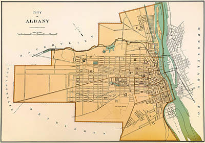 1890s Drawing - Vintage City Map Of Albany New York 1895 by Mountain Dreams