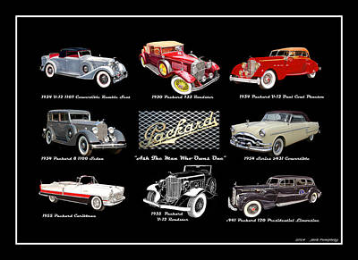 Painting - Poster Of Classic Packards by Jack Pumphrey