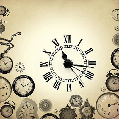 Caricature Digital Art - Vintage Clocks by Mark Ashkenazi