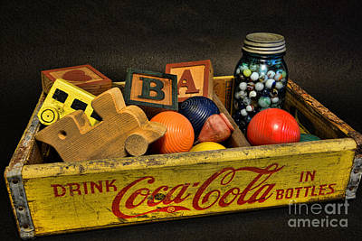 Marble Blocks Photograph - Vintage Coke And Toys by Paul Ward