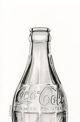 Still Life Drawing - Vintage Coke Bottle Drawing by Sarah Batalka