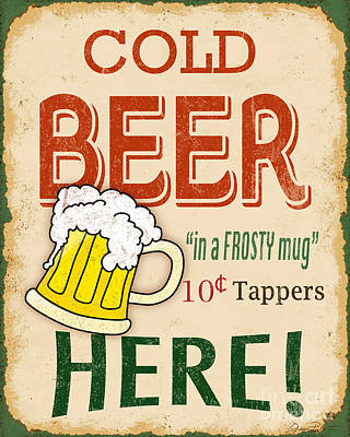 Vintage Cold Beer Sign Original by Jean Plout
