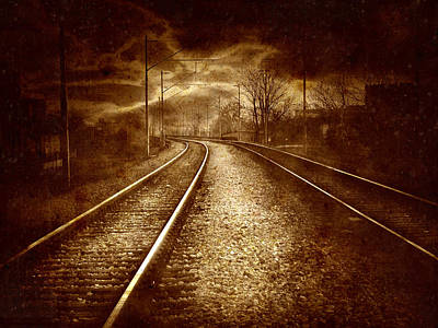 Metal Noise Photograph - Vintage Collage - Old Railroad by Modern Art Prints