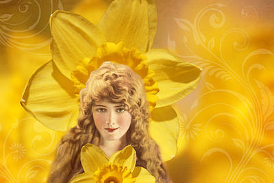 Photograph - Vintage Collage - Woman And Daffodils by Peggy Collins