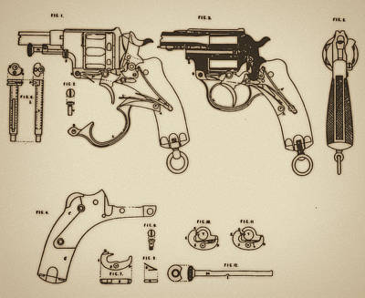 Vintage Colt Revolver Drawing Art Print by Nenad Cerovic