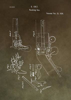 Show Mixed Media - Vintage Colt Revolver Patent by Dan Sproul