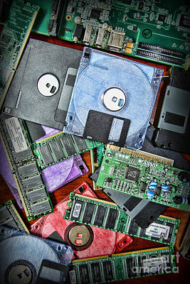 Mother Board Photograph - Vintage Computer Parts by Paul Ward