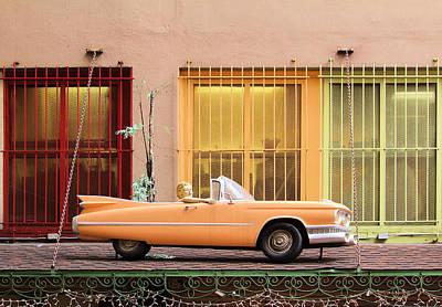 Vintage Convertible On The Roof Art Print by Viktor Savchenko