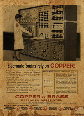 Copper Mixed Media - Vintage Copper And Brass Retro Magazine Electronics Advertisement by Design Turnpike