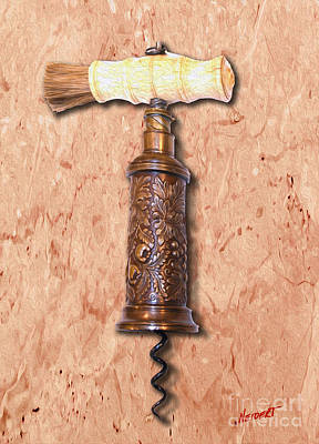 Merlot Mixed Media - Vintage Corkscrew Painting 6 by Jon Neidert