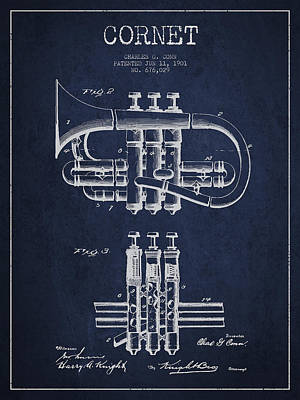 Trumpet Digital Art - Cornet Patent Drawing From 1901 - Blue by Aged Pixel