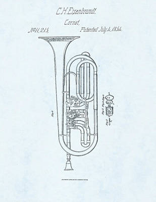 Trumpet Player Drawing - Cornet Patent Drawing On Blue Background by Steve Kearns