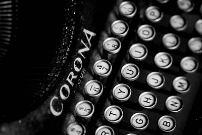 Antique Typewriter Photograph - Vintage Corona Four Typewriter by Jon Woodhams