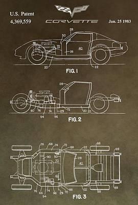 General Motors Digital Art - Vintage Corvette Patent by Dan Sproul