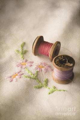 Embroidered Photograph - Vintage Cotton Reels by Jan Bickerton