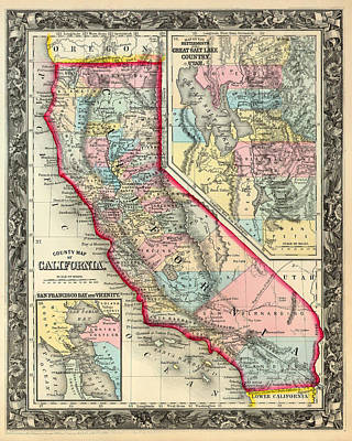 1860 Drawing - Vintage County Map Of California With San Francisco Inset by Mountain Dreams