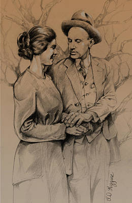 Turn Of The Century Drawing - Vintage Courting Couple by Derrick Higgins
