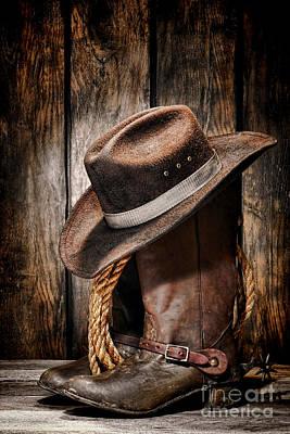 Rancher Photograph - Vintage Cowboy Boots by Olivier Le Queinec