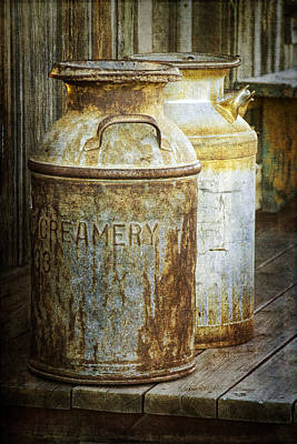 Vintage Creamery Cans In 1880 Town In South Dakota Art Print by Randall Nyhof