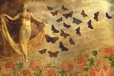 Digital Art - Vintage Dancer And Butterflies by Peggy Collins