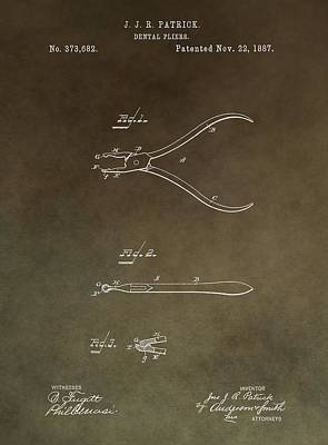 Mixed Media - Vintage Dental Pliers Patent by Dan Sproul