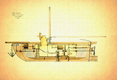 Vintage Design For A Submarine - 1806 Art Print by Mountain Dreams