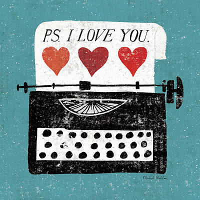 Typewriters Painting - Vintage Desktop - Typewriter by Michael Mullan