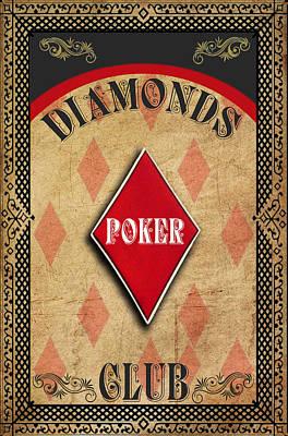 Photograph - Vintage Diamonds Poker Club by Greg Sharpe