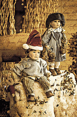 Vintage Photograph - Vintage Dolls Boy And Girl With Written Vintage Background by Georgina Noronha