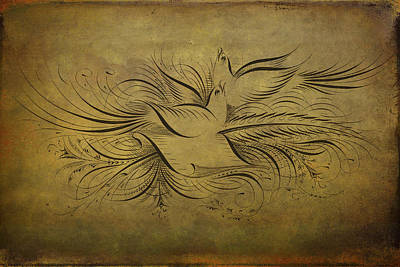 Photograph - Vintage Doves On Gold by Peggy Collins