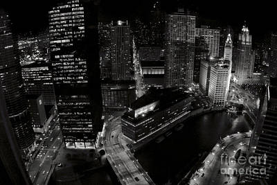 Vintage 2003  Downtown Chicago At Night Art Print