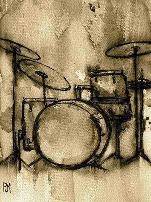 Sepia Tone Painting - Vintage Drums by Pete Maier