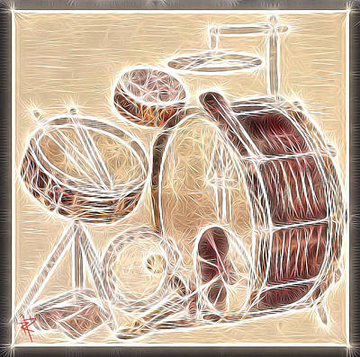 Drummer Mixed Media - Vintage Drums by Russell Pierce