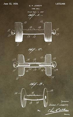 Athletic Digital Art - Vintage Dumbbell Patent by Dan Sproul