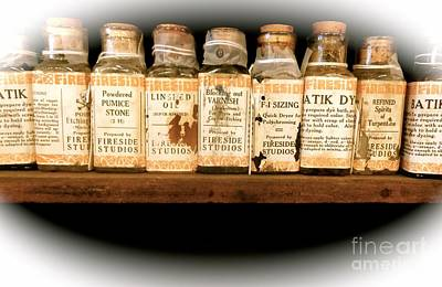 Photograph - Vintage Dye Bottles by Saundra Myles