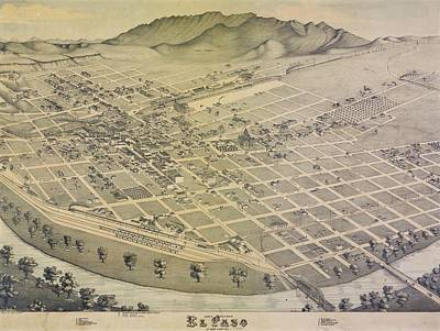 Vintage El Paso Map Art Print by Dan Sproul