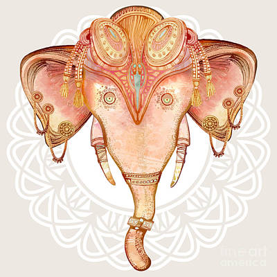 Mosaic Wall Art - Digital Art - Vintage Elephant Illustration.hand Draw by Polina Lina