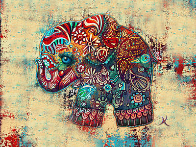 Elephants Painting - Vintage Elephant by Karin Taylor