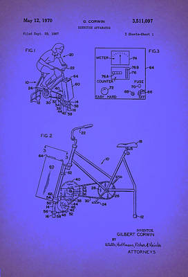 Bicycle Drawing - Vintage Exercise Bike Patent by Mountain Dreams