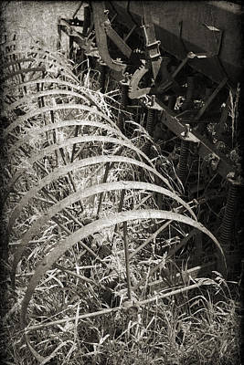 Antique Hay Rake Photograph - Vintage Farm Equipment In Sepia With A Textured Overlay by Kim M Smith