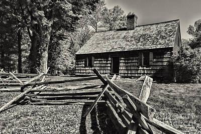 Vintage Farm House In Black And White Art Print