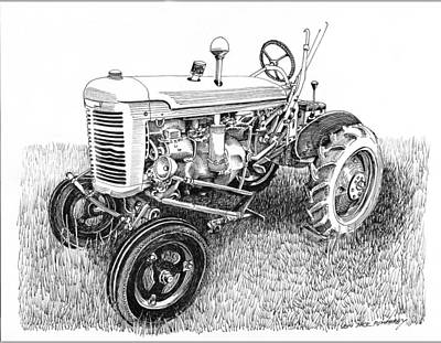Drawing - Vintage Farmall  I H W 6 Tractor by Jack Pumphrey